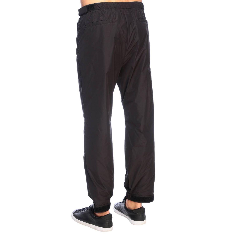 Pantalone Prada techno popeline travel con fibbia a strappo in gomma nero 3