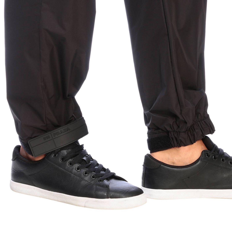 Pantalone Prada techno popeline travel con fibbia a strappo in gomma nero 4