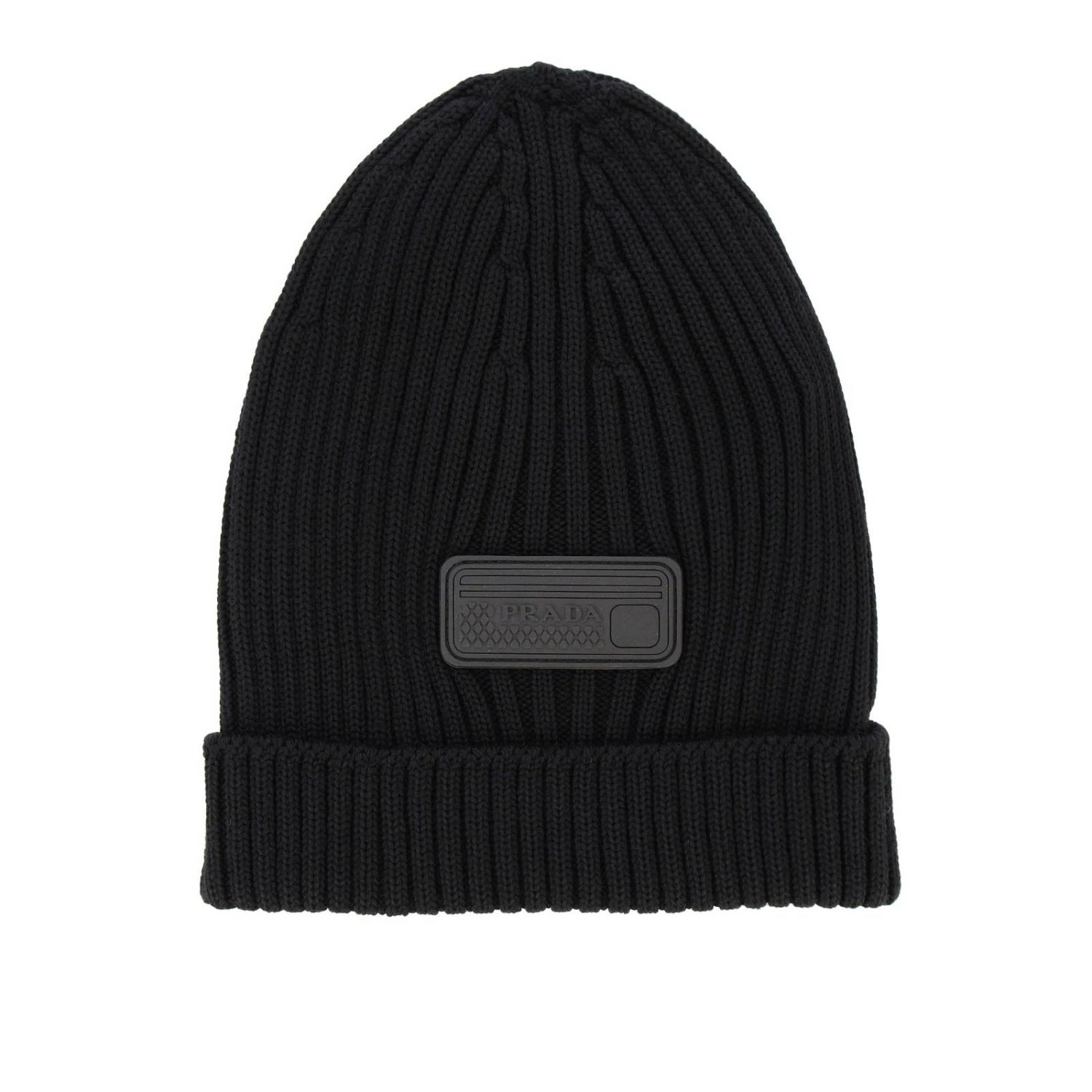 Prada hat in ribbed wool with rubber logo black 1