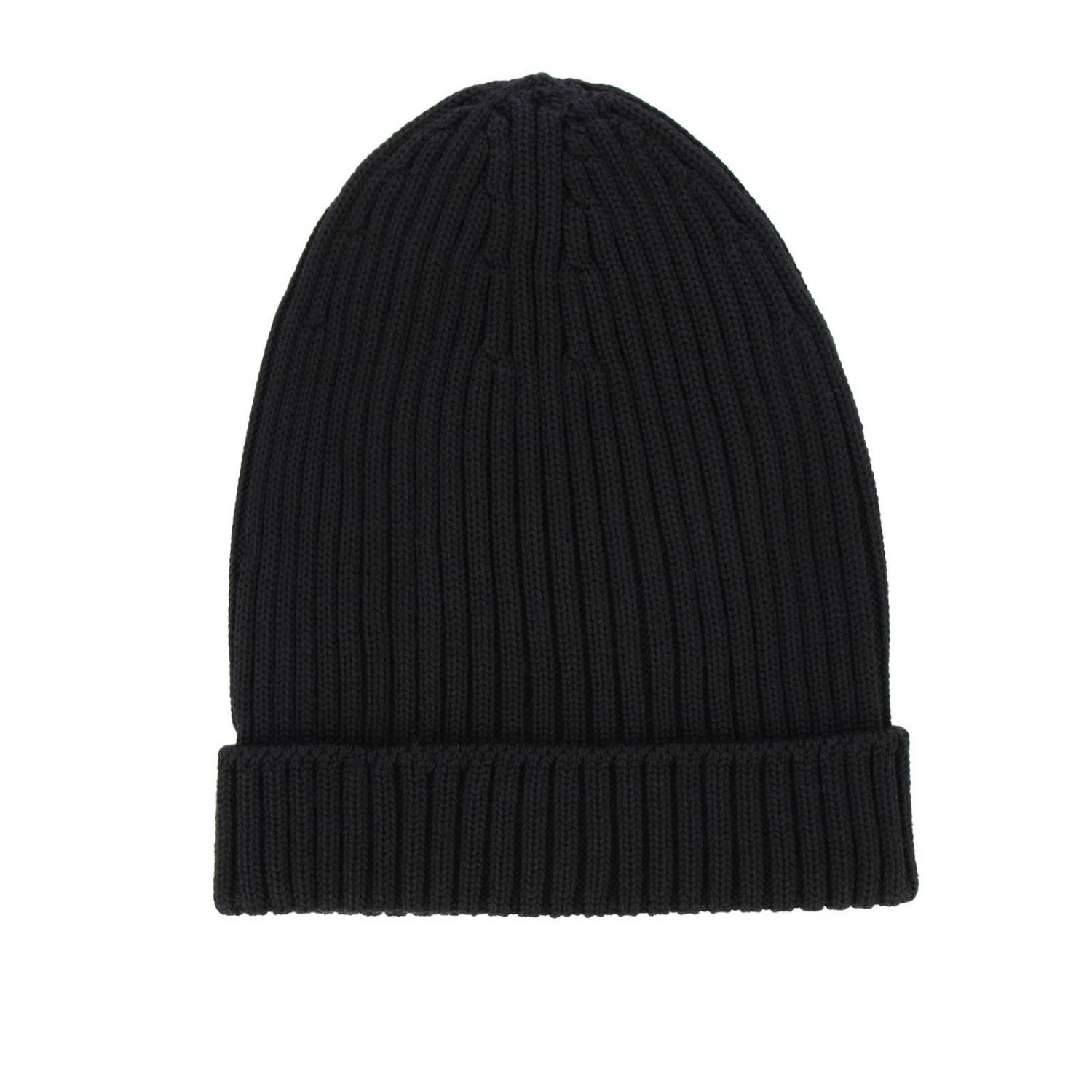 Prada hat in ribbed wool with rubber logo black 2