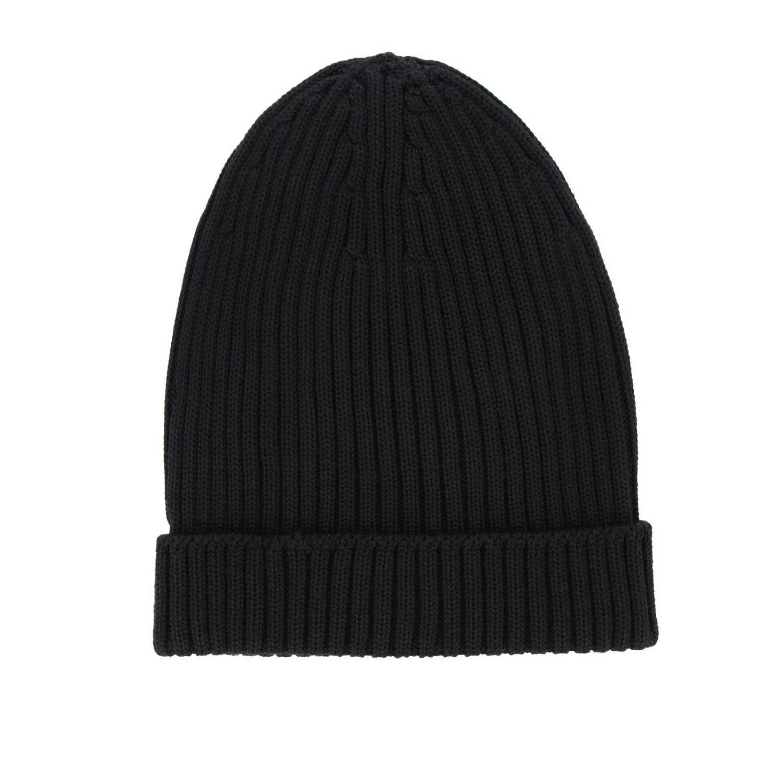 Sombrero Prada de lana acanalada con logo de goma negro 2