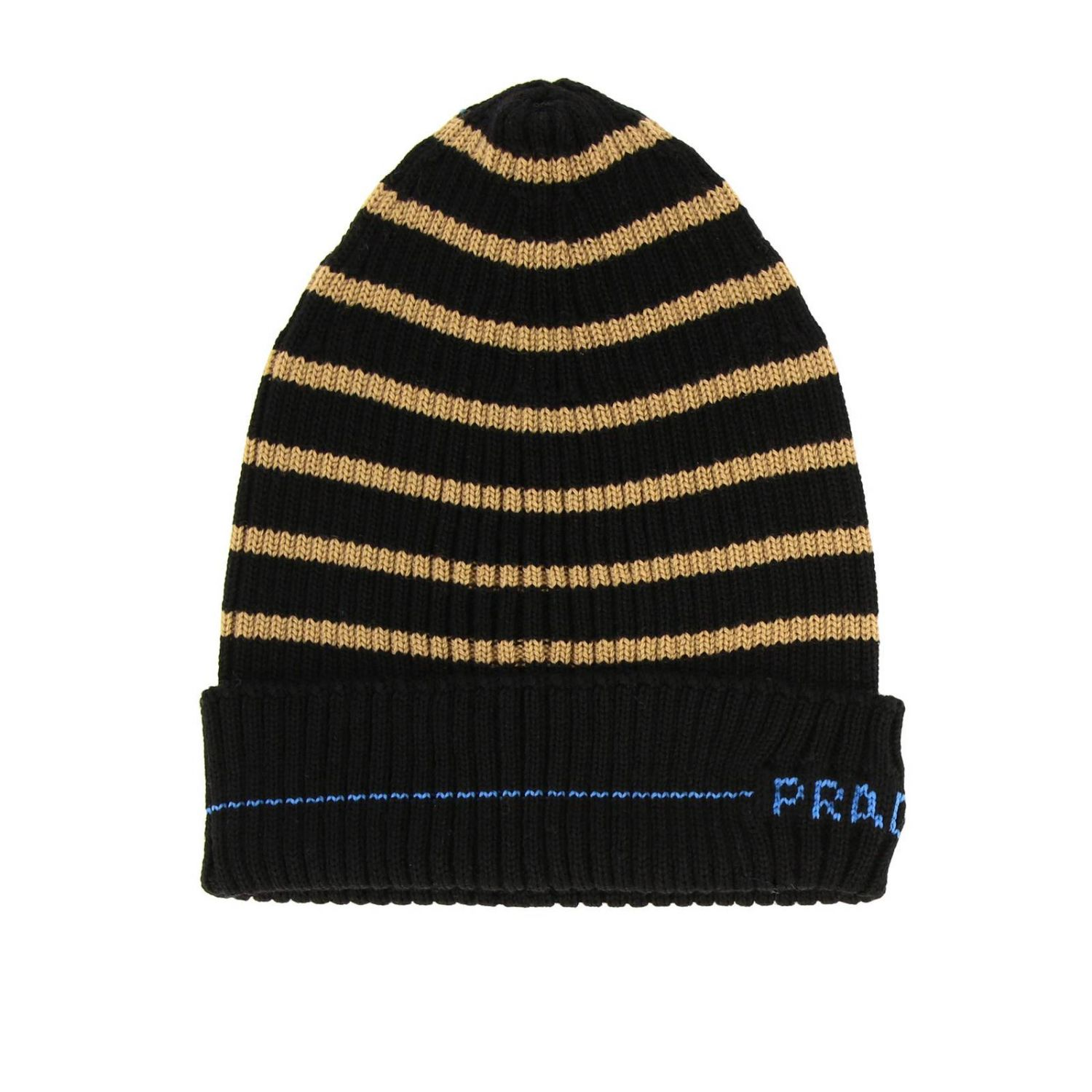 Prada hat in ribbed wool with logo and striped pattern black 1