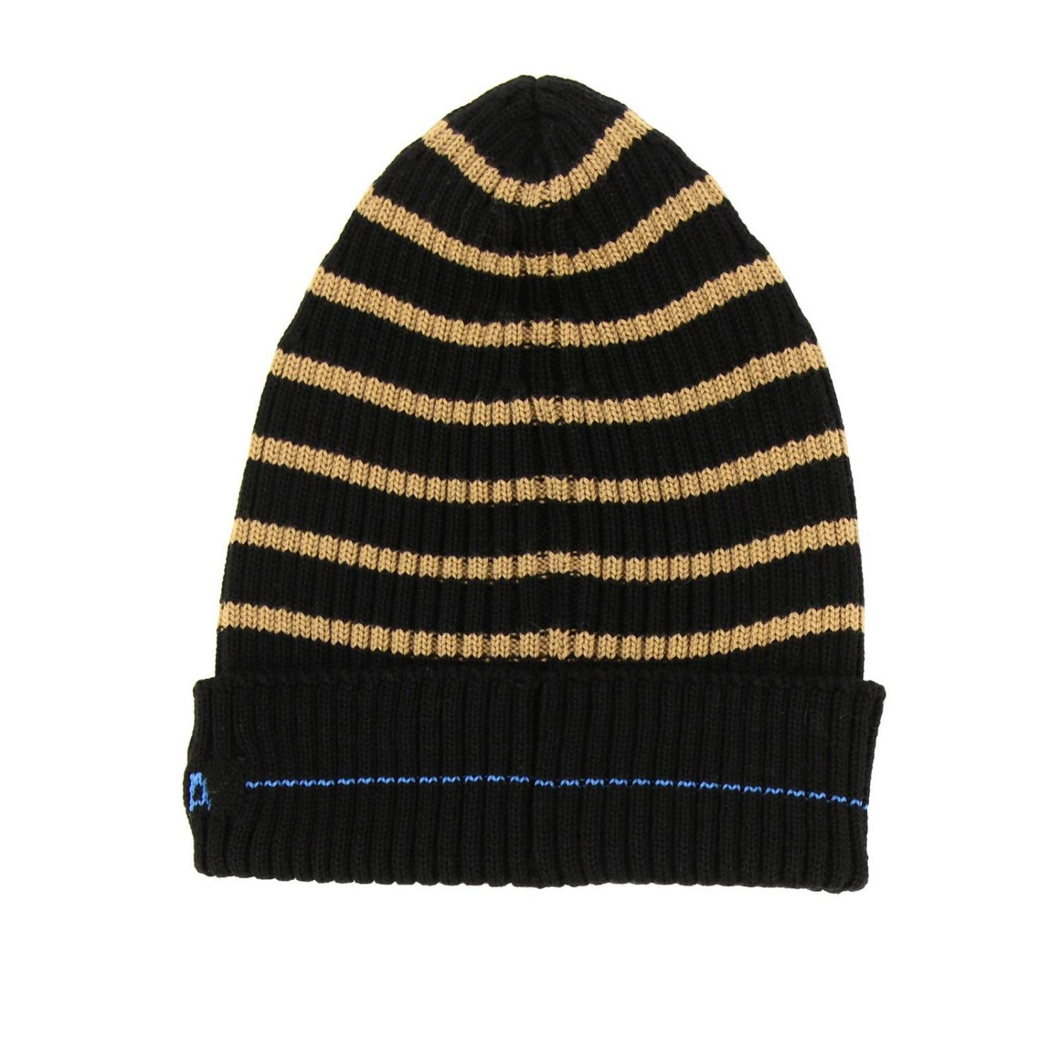 Prada hat in ribbed wool with logo and striped pattern black 2
