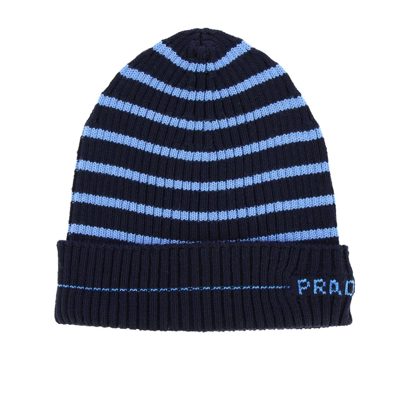 Prada hat in ribbed wool with logo and striped pattern blue 1