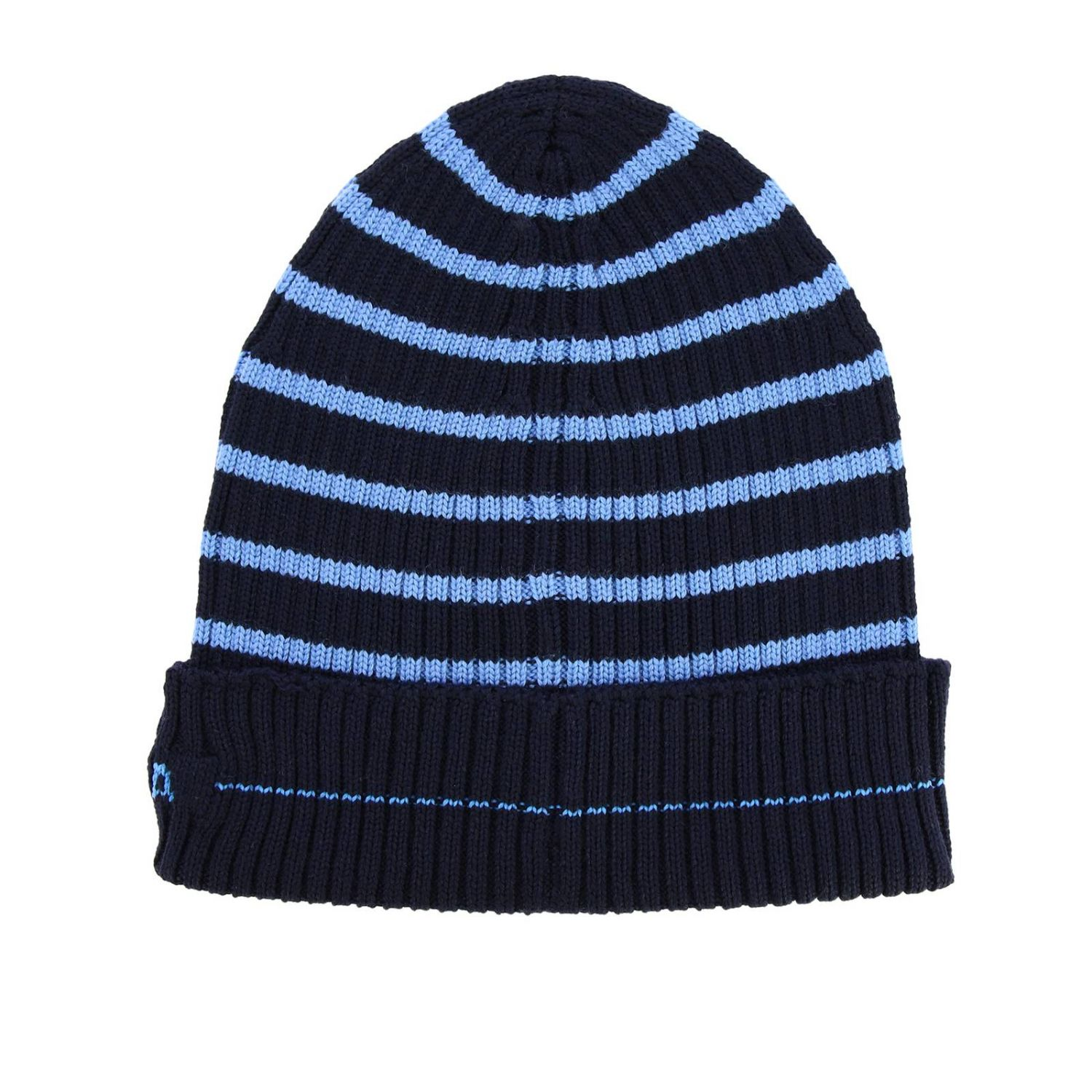 Prada hat in ribbed wool with logo and striped pattern blue 2