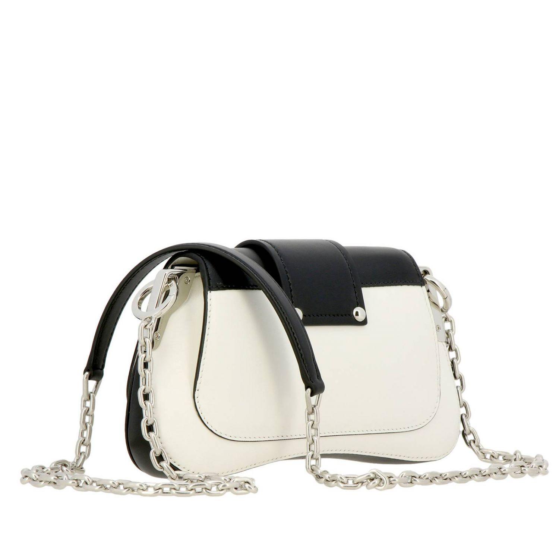 Borsa Sidonie a spalla in vera pelle bicolor con classico logo Prada bianco 3