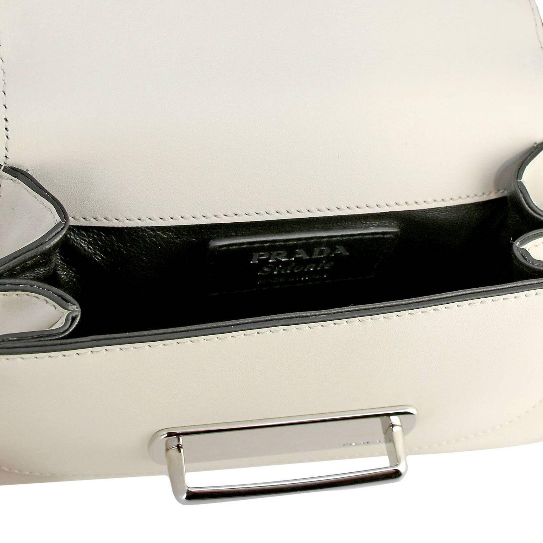Borsa Sidonie a spalla in vera pelle bicolor con classico logo Prada bianco 5