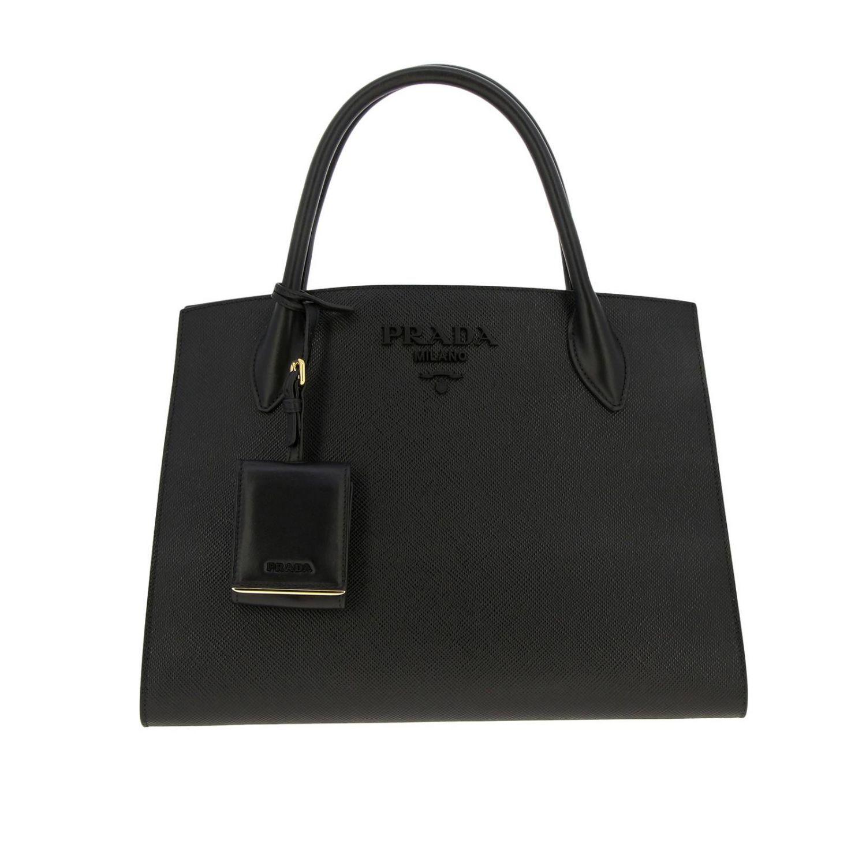 Borsa Monochrome Prada shopping in pelle saffiano nero 1