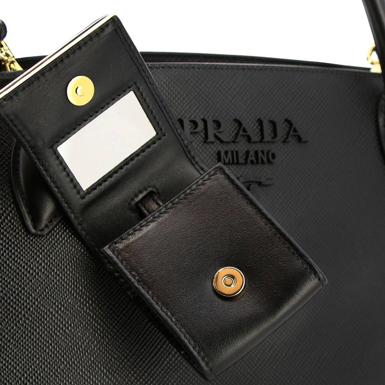 Borsa Monochrome Prada shopping in pelle saffiano nero 3