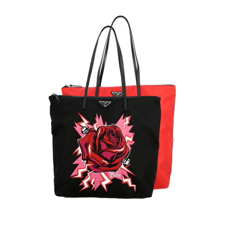 Borsa Shopping Prada in nylon con stampa rosa rosso 1