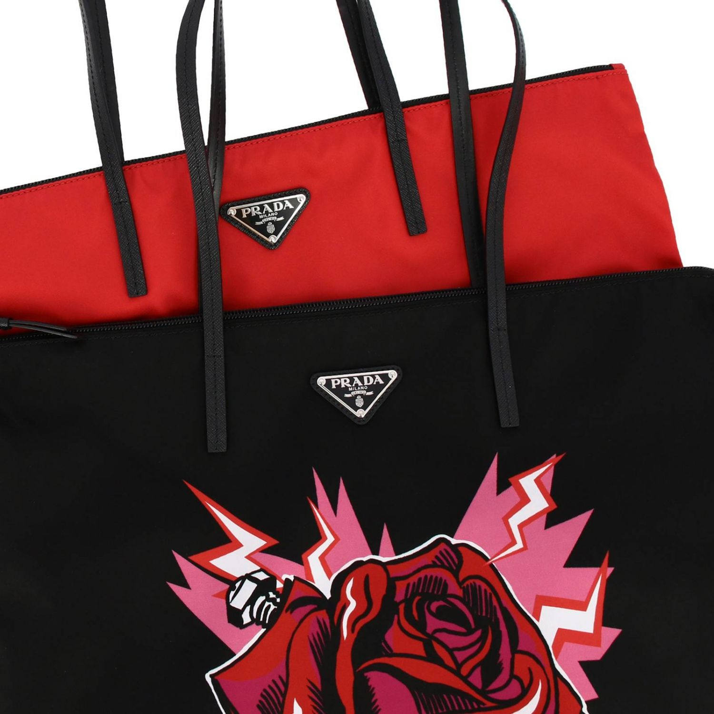 Borsa Shopping Prada in nylon con stampa rosa rosso 3