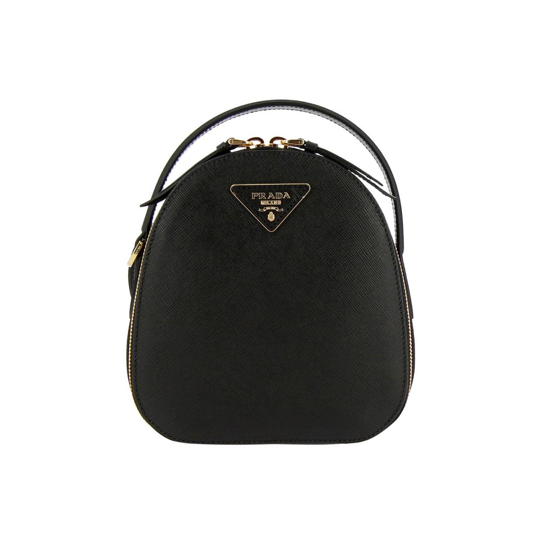 Odette Prada Mini-Rucksack aus Saffiano-Leder mit dreieckigem Logo schwarz 1