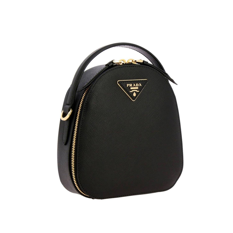 Odette Prada Mini-Rucksack aus Saffiano-Leder mit dreieckigem Logo schwarz 3