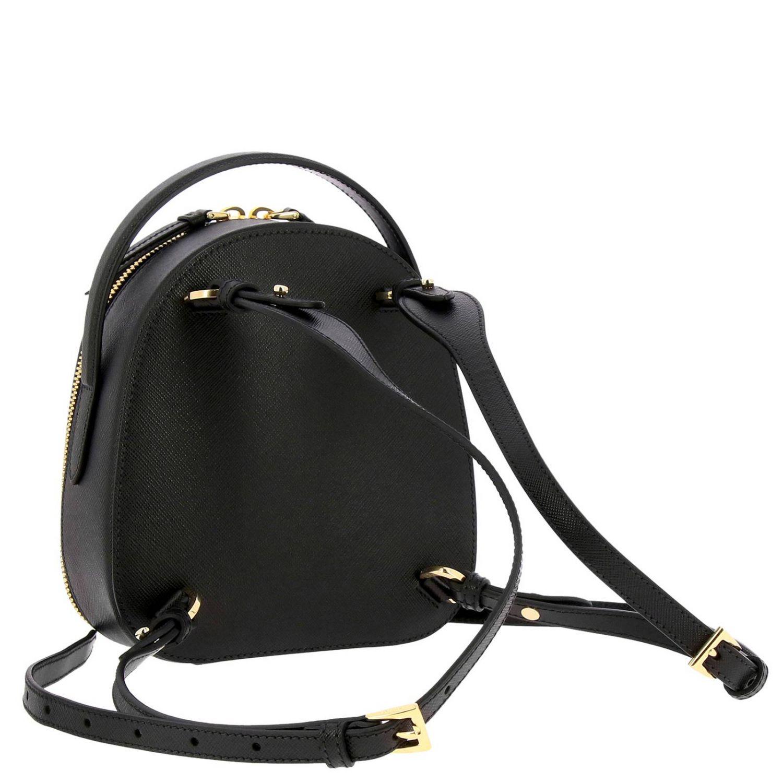 Odette Prada Mini-Rucksack aus Saffiano-Leder mit dreieckigem Logo schwarz 4