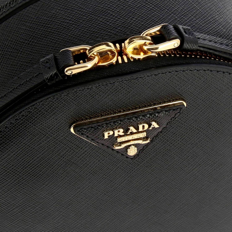 Odette Prada Mini-Rucksack aus Saffiano-Leder mit dreieckigem Logo schwarz 5