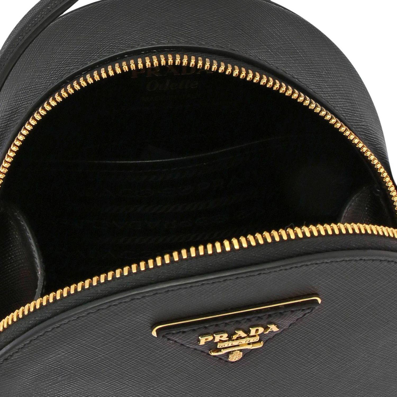 Odette Prada Mini-Rucksack aus Saffiano-Leder mit dreieckigem Logo schwarz 6