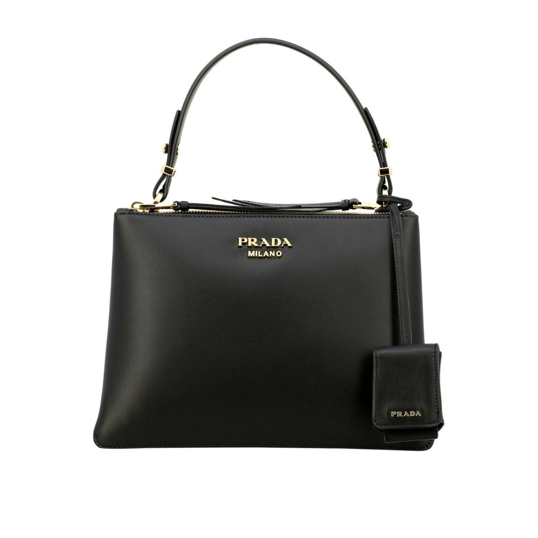 Sac porté main Prada: Sac à main Prada en cuir lisse avec logo en métal et bandoulière noir 1