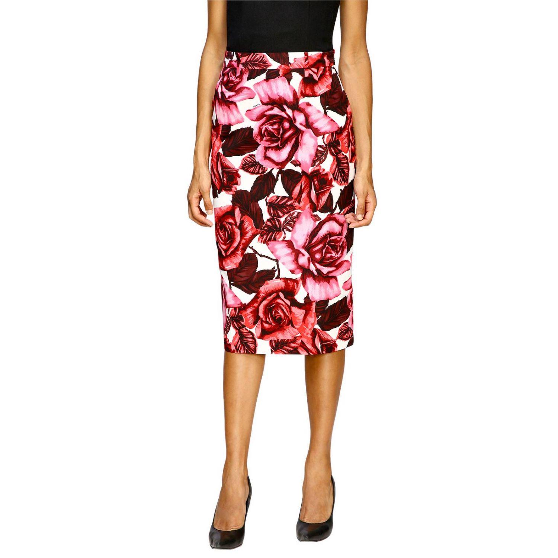 Prada 玫瑰印花纯棉半身裙 粉色 1