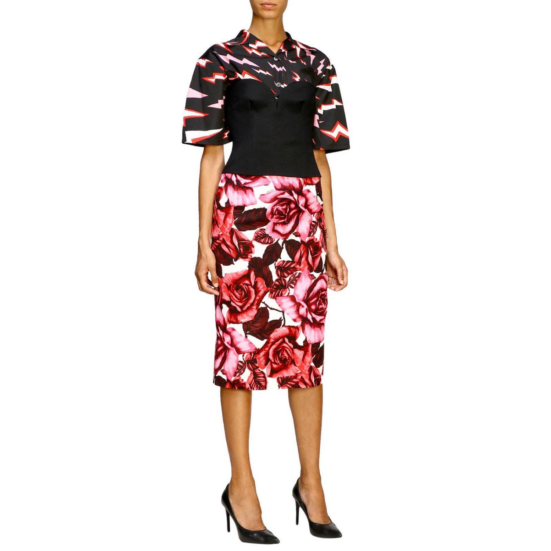 Prada 玫瑰印花纯棉半身裙 粉色 2