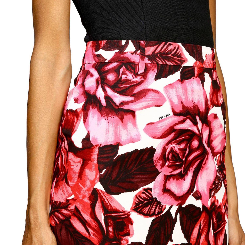 Prada 玫瑰印花纯棉半身裙 粉色 5