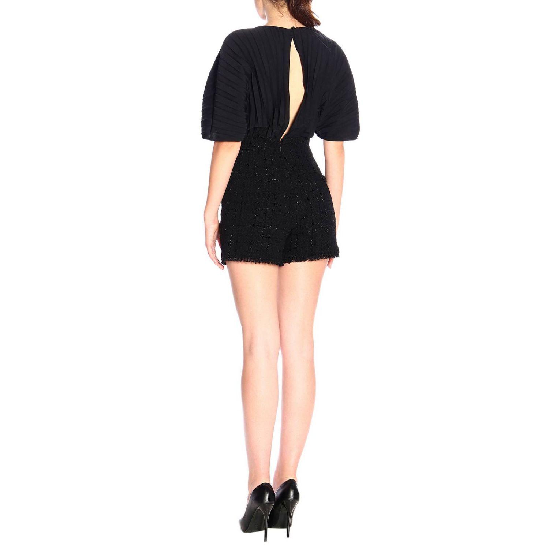 Pinko Sballare short bouclé jumpsuit and jewel chain black 2