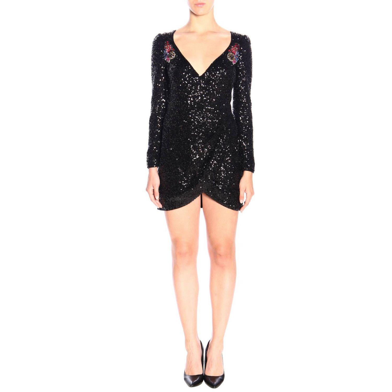 Платье Lumeggiare Pinko из ткани с пайетками с цветочными аппликациями черный 1