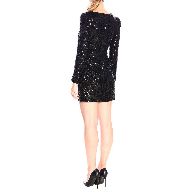 Платье Lumeggiare Pinko из ткани с пайетками с цветочными аппликациями черный 2
