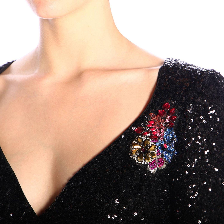 Платье Lumeggiare Pinko из ткани с пайетками с цветочными аппликациями черный 3