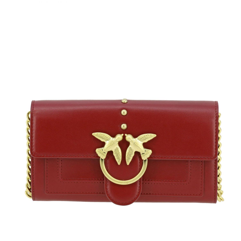 Portefeuille Pinko: Mini Sac Portefeuille Houston wallet Pinko en cuir avec bandoulière bordeaux 1