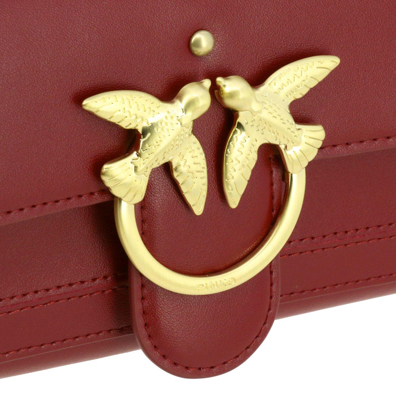 Portefeuille Pinko: Mini Sac Portefeuille Houston wallet Pinko en cuir avec bandoulière bordeaux 4