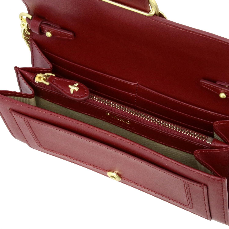 Portefeuille Pinko: Mini Sac Portefeuille Houston wallet Pinko en cuir avec bandoulière bordeaux 5