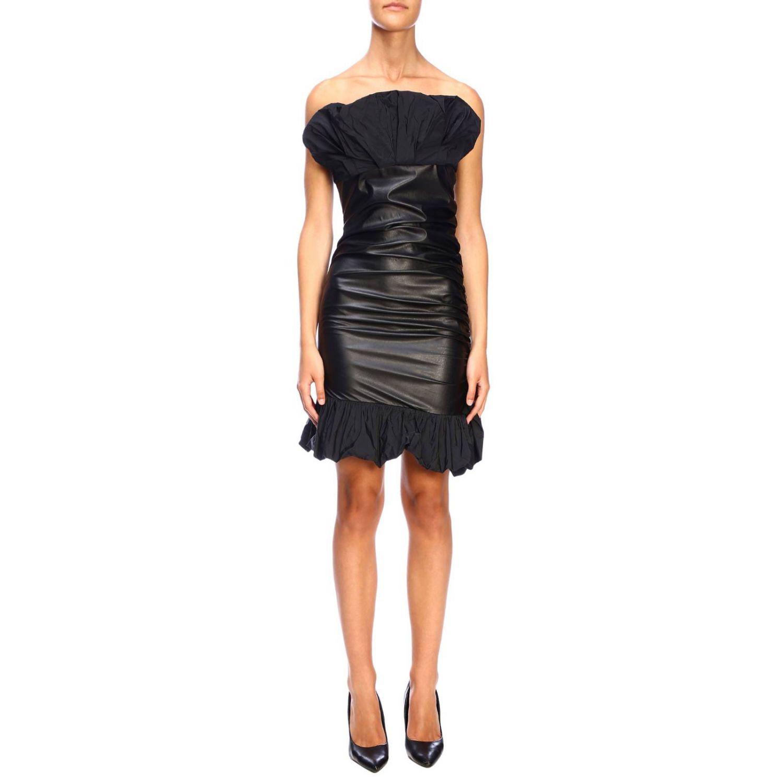 Kleid Pinko: Pinko Stranamore Kleid aus ökologischem Leder mit Rüschen schwarz 1