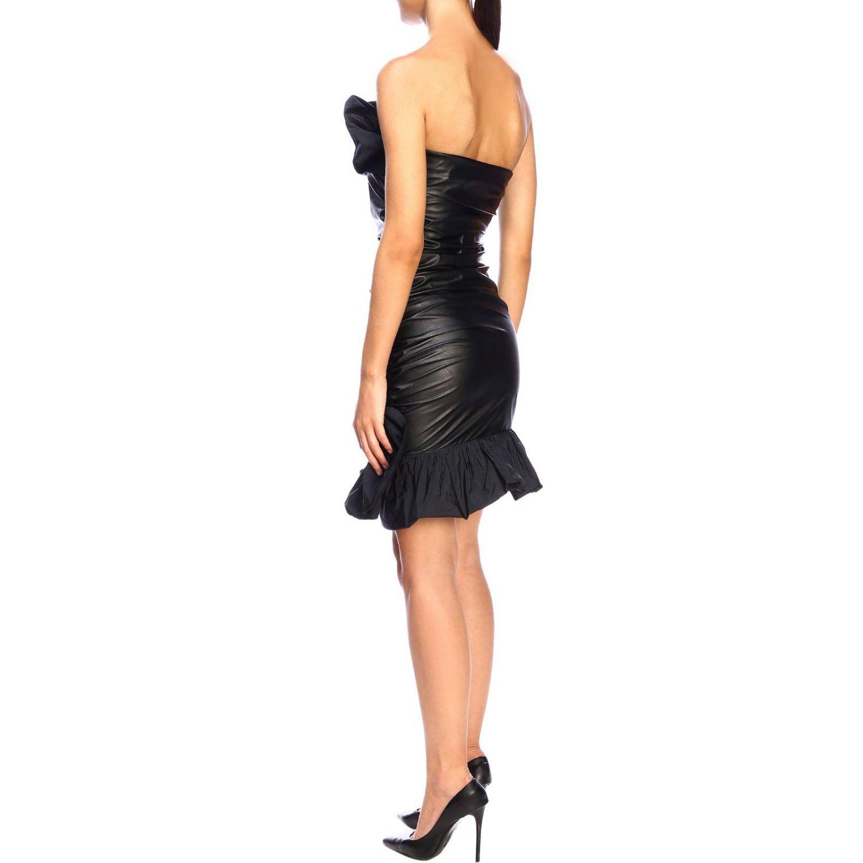 Kleid Pinko: Pinko Stranamore Kleid aus ökologischem Leder mit Rüschen schwarz 2