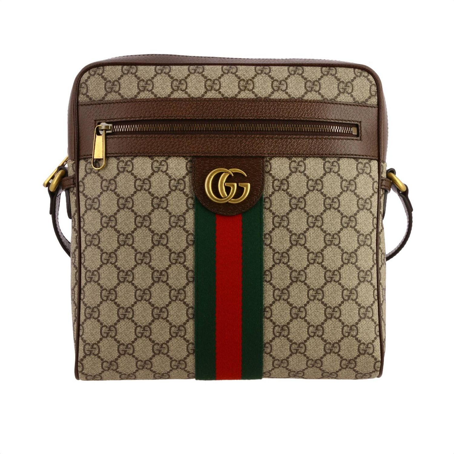 Ophidia shoulder bag in GG Supreme Gucci leather with Web band beige 1