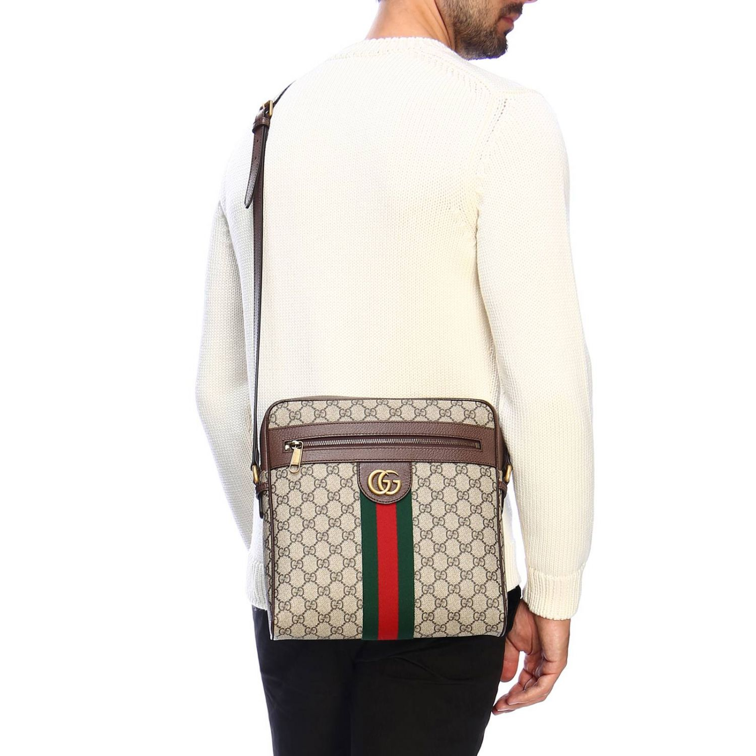 Ophidia shoulder bag in GG Supreme Gucci leather with Web band beige 2