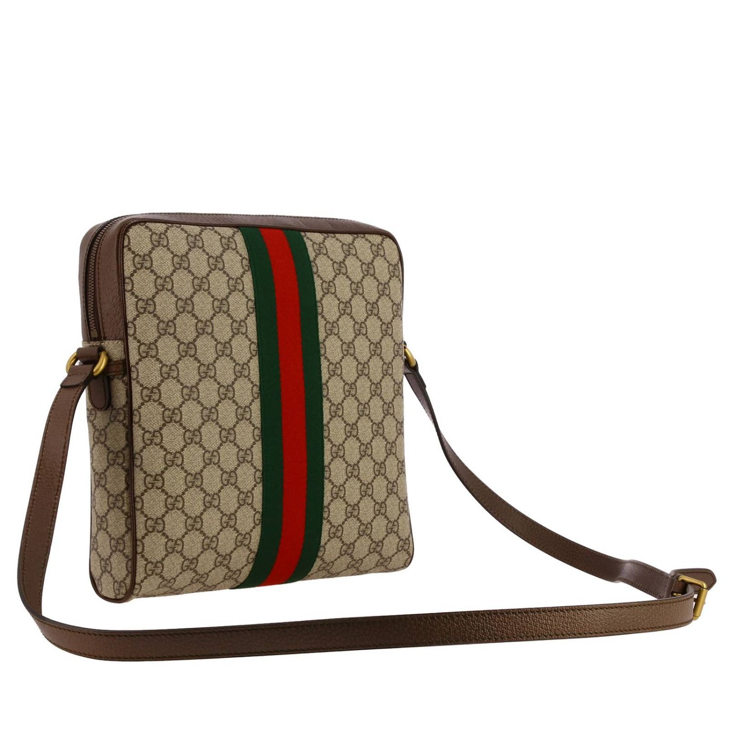 Ophidia shoulder bag in GG Supreme Gucci leather with Web band beige 3