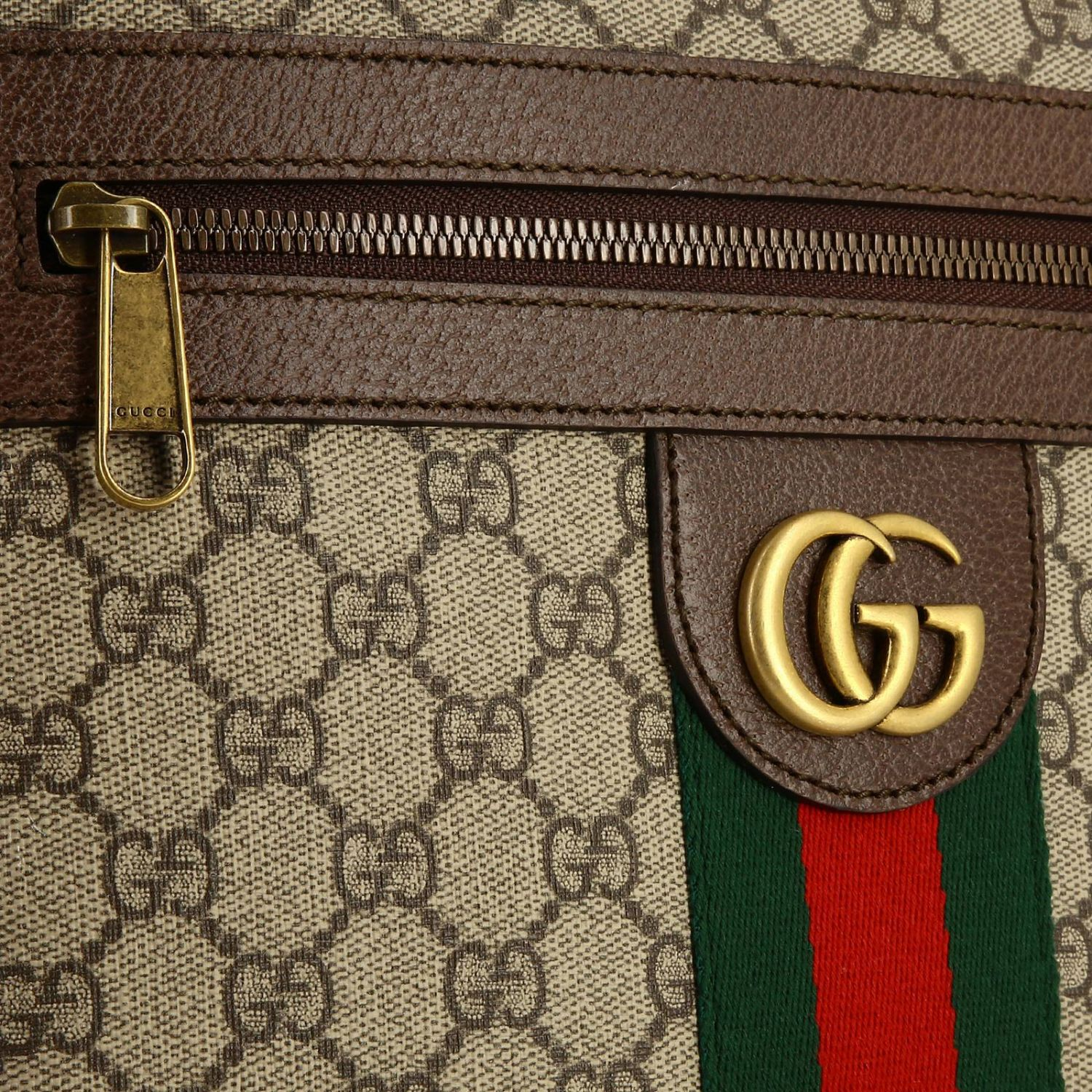 Ophidia shoulder bag in GG Supreme Gucci leather with Web band beige 4