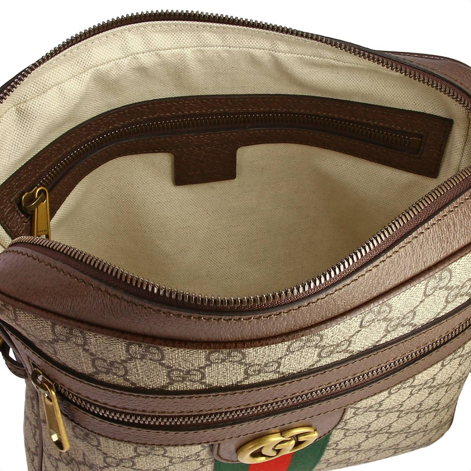 Ophidia shoulder bag in GG Supreme Gucci leather with Web band beige 5