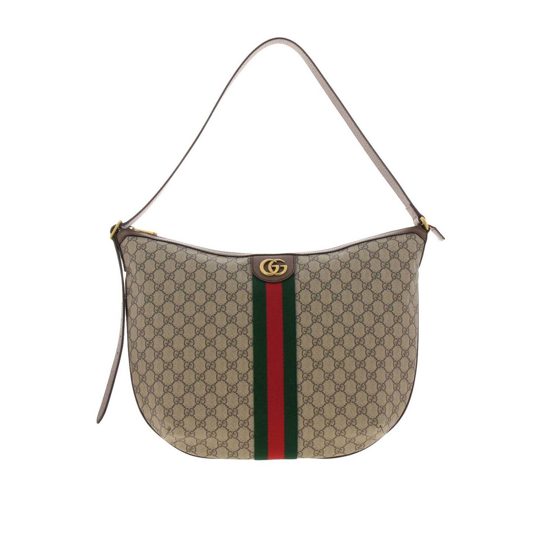 Borsa Ophidia Hobo GG Supreme Gucci con fascia Web e monogramma beige 1