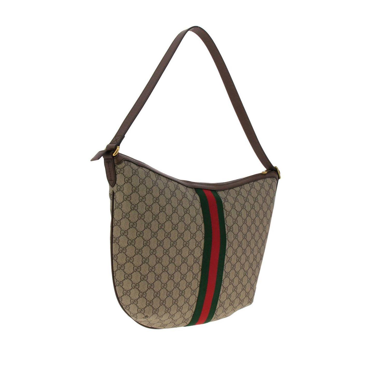 Borsa Ophidia Hobo GG Supreme Gucci con fascia Web e monogramma beige 3