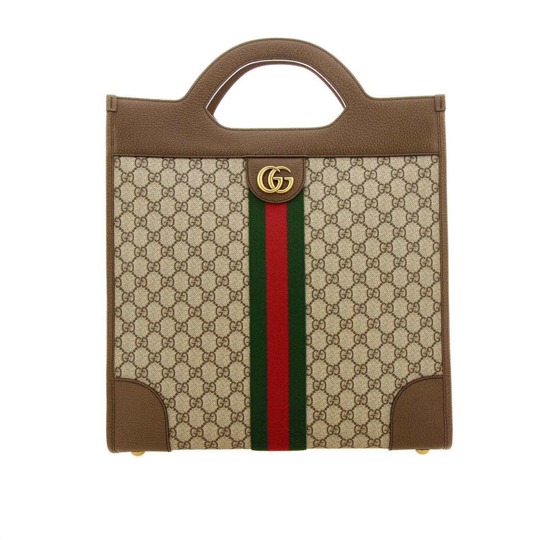 Bolso de mano mediano Ophidia de tejido GG Supreme Gucci con banda web y monograma beige 1