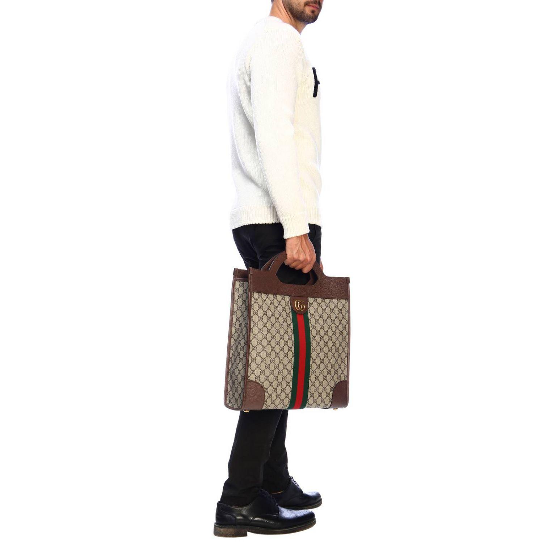 Bolso de mano mediano Ophidia de tejido GG Supreme Gucci con banda web y monograma beige 2