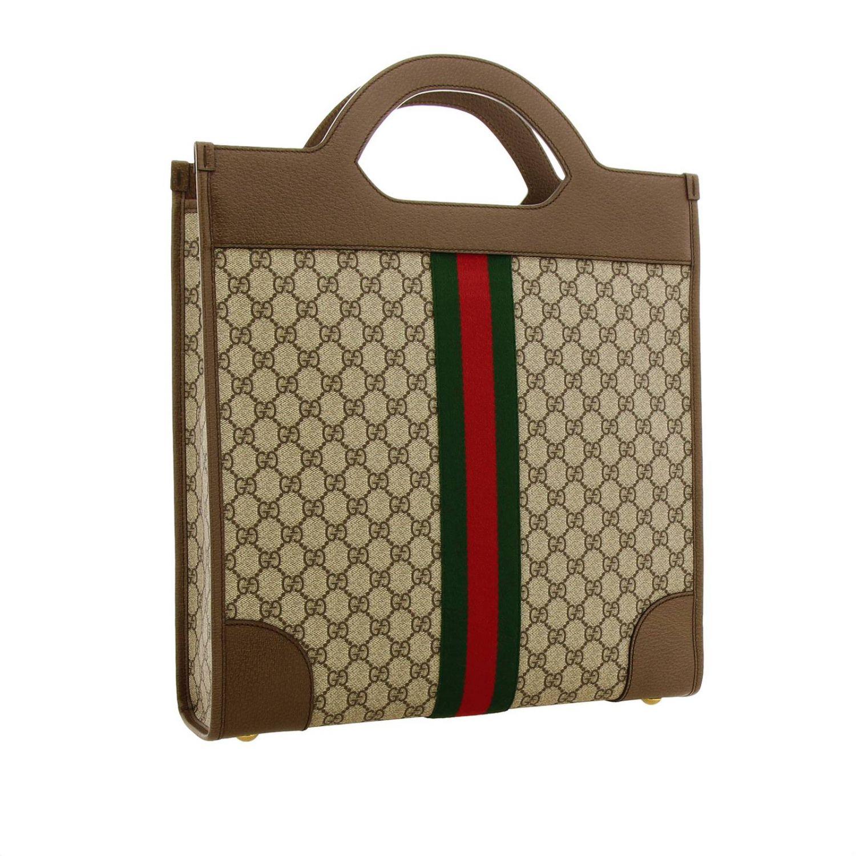 Bolso de mano mediano Ophidia de tejido GG Supreme Gucci con banda web y monograma beige 3