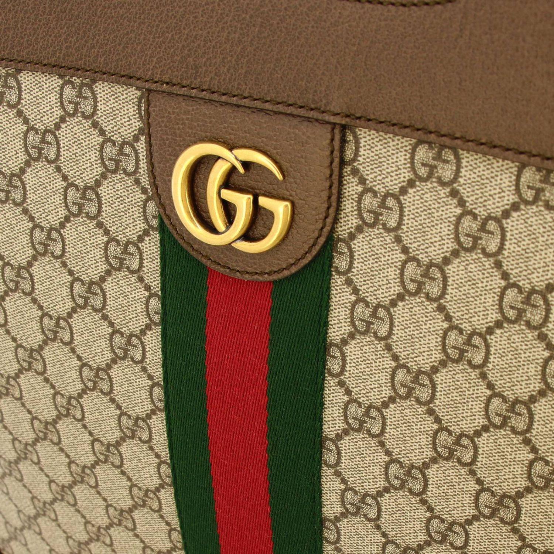 Bolso de mano mediano Ophidia de tejido GG Supreme Gucci con banda web y monograma beige 4