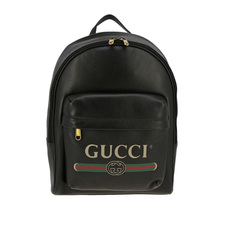 Zaino large in pelle martellata con stampa vintage Gucci nero 1