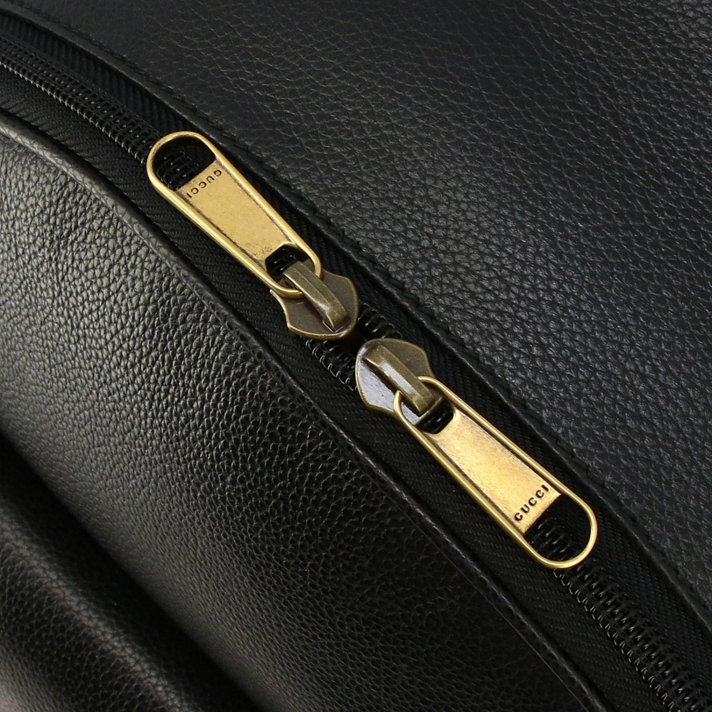 Zaino large in pelle martellata con stampa vintage Gucci nero 5