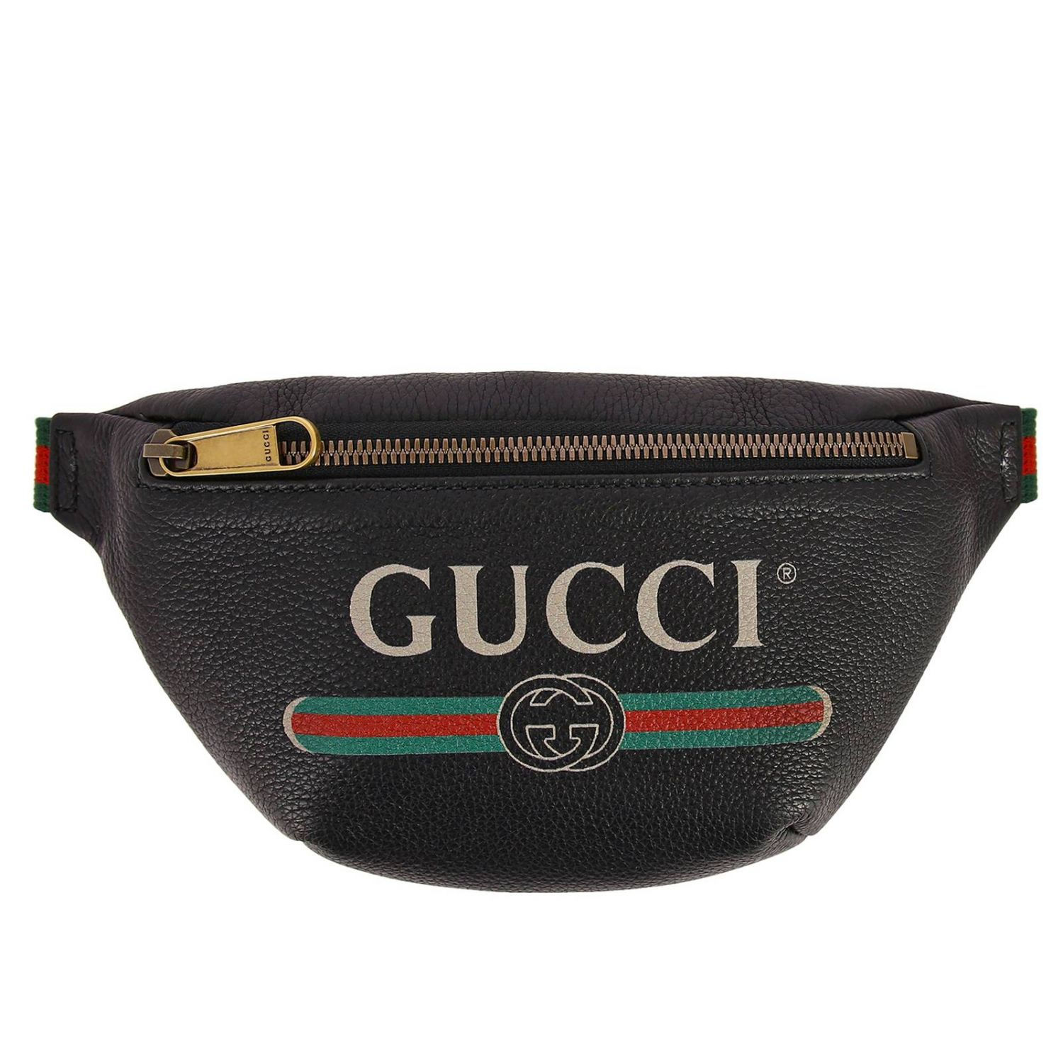 Print small bag in genuine hammered leather with Gucci Classic print black 1