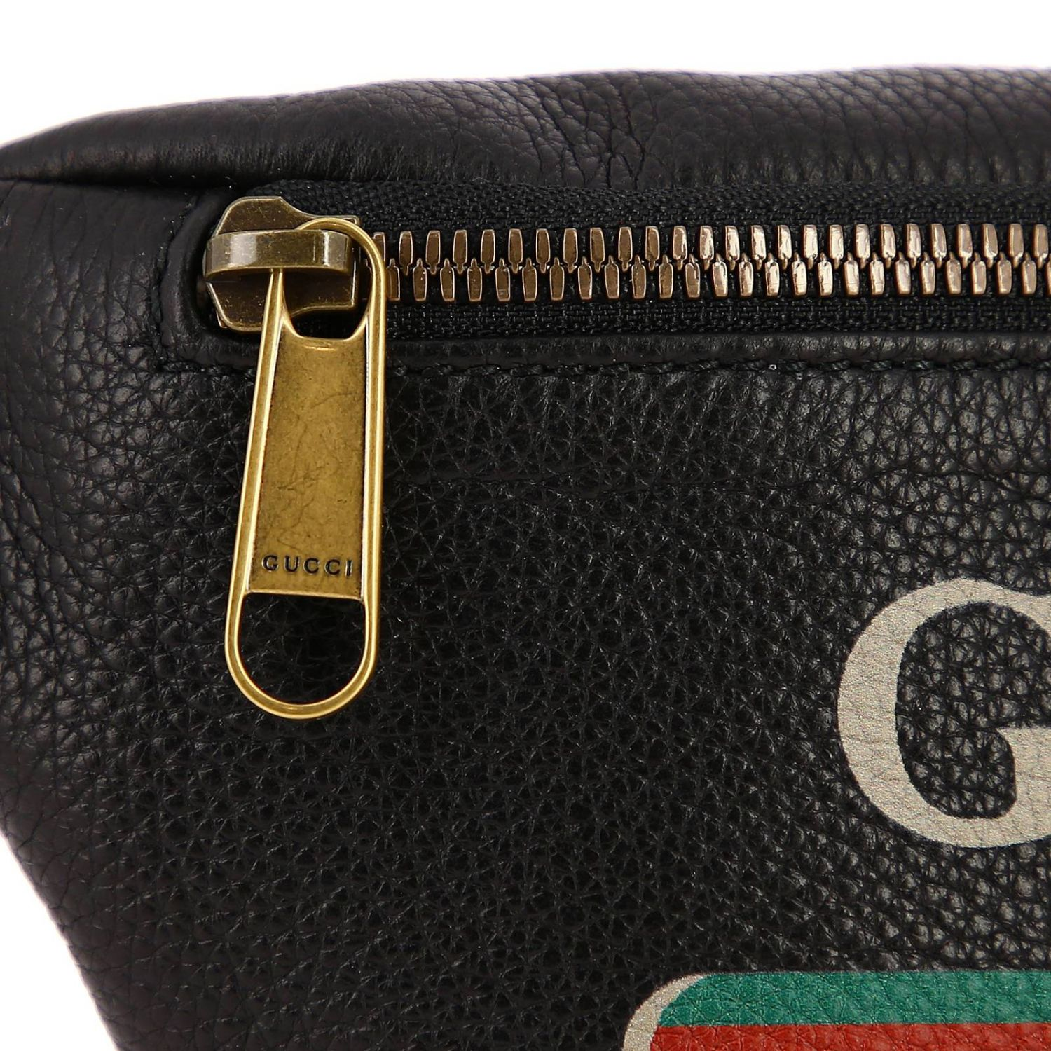 Print small bag in genuine hammered leather with Gucci Classic print black 4