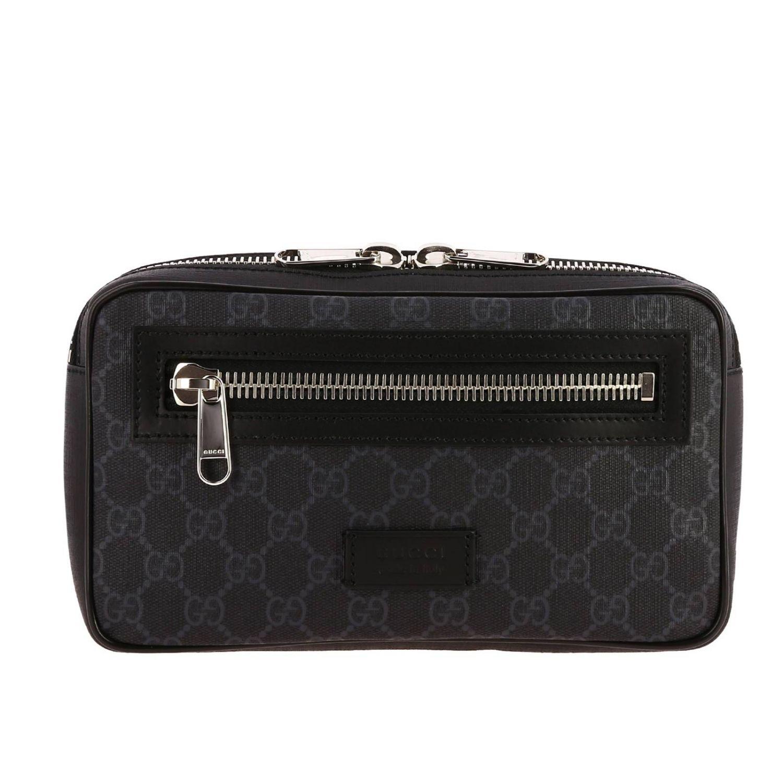 Kleine Full Zip Bauchtasche mit durchgehendem Reißverschluss aus GG Supreme Gucci-Leder mit Web-Schultergurt schwarz 1