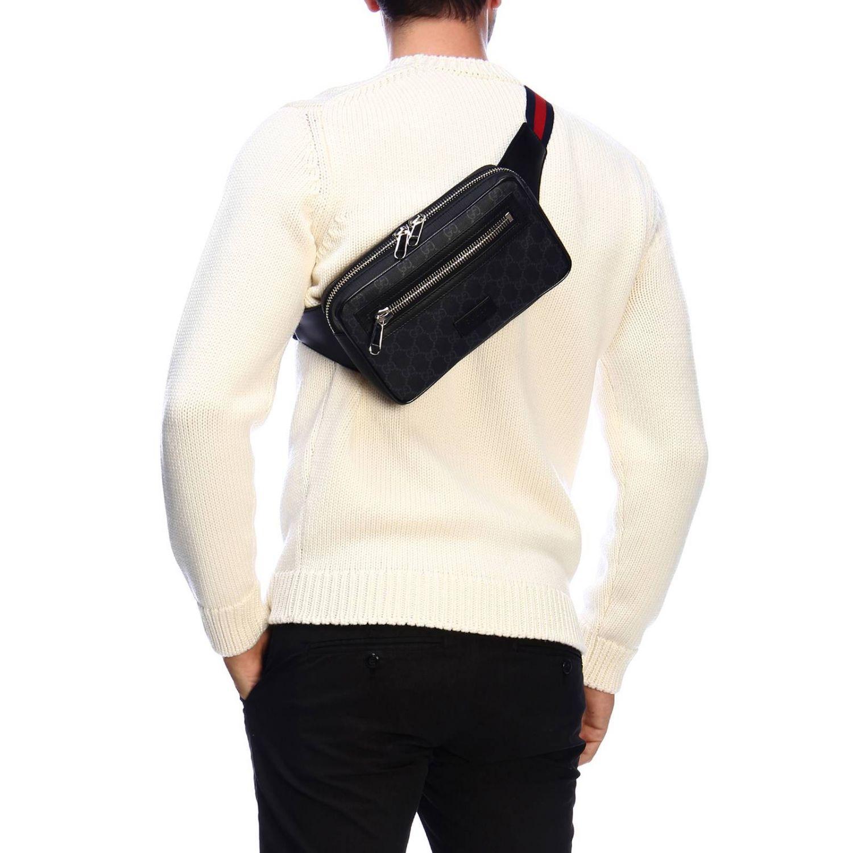 Kleine Full Zip Bauchtasche mit durchgehendem Reißverschluss aus GG Supreme Gucci-Leder mit Web-Schultergurt schwarz 2